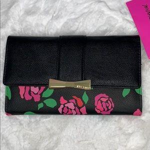 Betsey Johnson Black floral flap wallet NWT